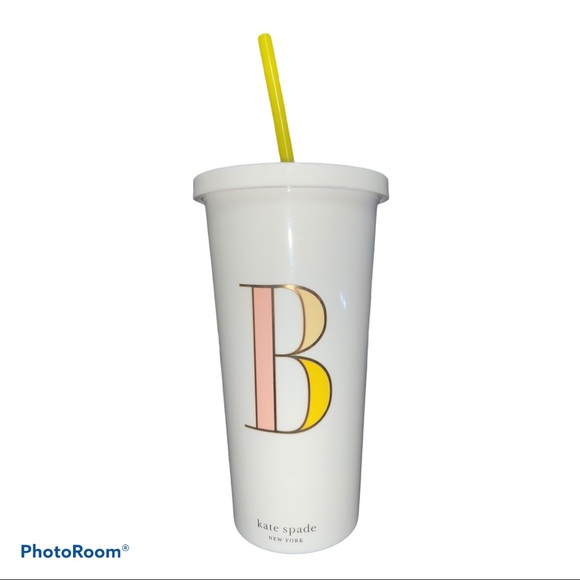 "Kate Spade New York ""B"" Initial Tumbler With Straw"